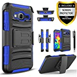 Galaxy Core Prime Case, Galaxy Prevail LTE Case, Combo Rugged Shell Cover Holster with Built-in Kickstand and Holster Locking Belt Clip Blue + Circle(TM) Stylus Touch Screen Pen and Screen Protector
