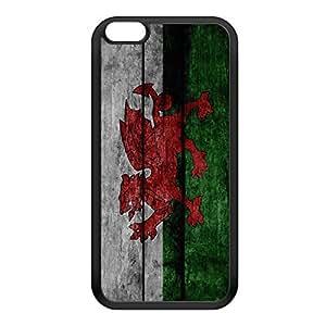 Grunge Wood Flag of Wales Dragon - Welsh Baner Cymru - Y Ddraig Goch Black Silicon Rubber Case for iPhone 6 Plus by UltraFlags + FREE Crystal Clear Screen Protector