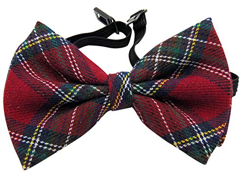 Red Plaid Bowtie Pre-tied Adjustable Scottish Style Bow Tie Formal Tuxedo Wear Boxed Pattern Bow Tie