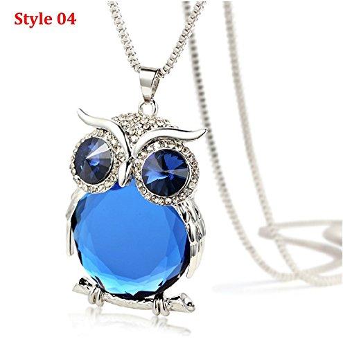 Aokarry Sweater Chain Night Guardians Bird Owl Austrian Crystal Pendant Necklace for Women Opal Style 03