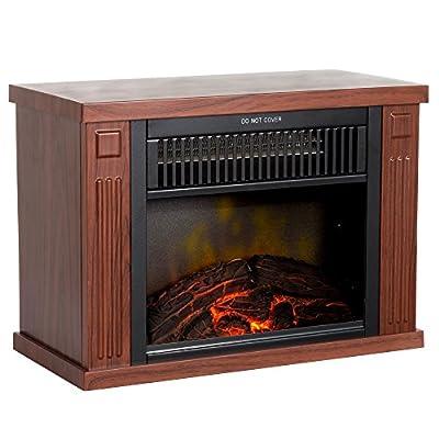 "Northwest 80-EF480-W Portable Mini Electric Fireplace Heater, 13"", Wood"
