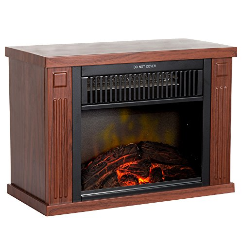 "Northwest 80-EF480-W Portable Mini Electric Fireplace Heater, 13"", Wood image"