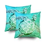 EMMTEEY Home Decor Throw Pillowcase Sofa Cushion Cover,sea turtle on sea green Decorative Square Accent Zippered Double Sided Printing Pillow Case Covers 16X16Inch,Set of 2