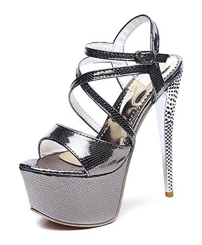 YE Women Extreme High Heels Stiletto Sandals Platform Pumps Party Shoes Black zWmNsoj