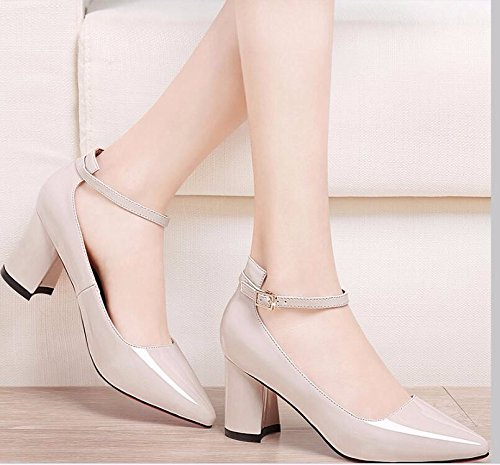 One Buckles Shoes With New Shoes Women'S Women'S Heel Mouth Top And Word Shallow Help Low Shoes Thick Single Beige Waterproofing A KHSKX Mirror Xw6S7q0xxZ