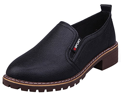 T&Mates Womens Elastic Round Toe Low Top Slip On Casual Low Heels Casual Loafers Shoes (7.5 B(M)US,Black) from T&Mates