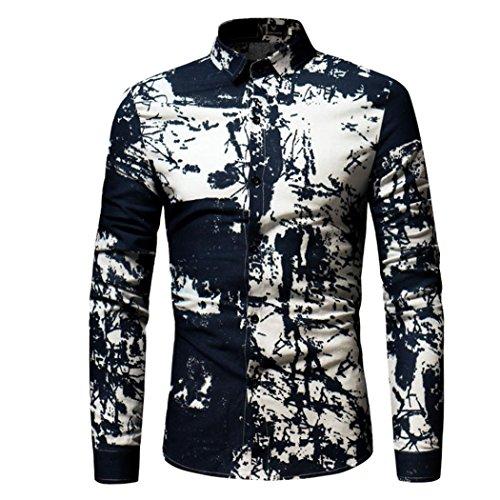 GREFER Fashion Men's T Shirt Slim Long-sleeved Printed Tee (Bomber Long Sleeve T-shirt)