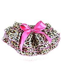 Wennikids Girl Satin Ruffle Pp Pants Baby Leopard Bowknot Bloomers Dress