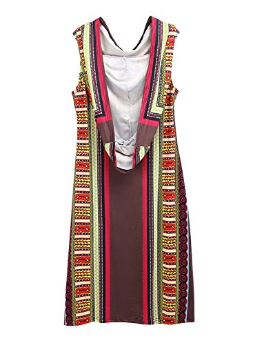 Achicgirl Dress Orange Women's Ethnic Print Bohemian Sleeveless Hooded r6rqYHU