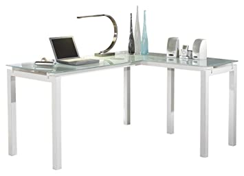 office desk glass. Ashley Furniture Signature Design - Baraga Home Office Desk Contemporary Style Glass Top