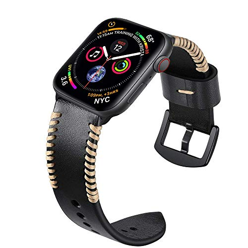 Kartice 44mm 42mm Genuine Leather Band,Handmade Vintage Replacement Watchbands with Stainless Steel Black Clasp for Apple Watch Series 4 44mm,Series 3,2,1 42mm Sport and Edition.(Black 44/42mm)