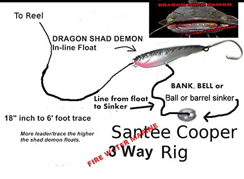 Firewatermarine 5 [five] DRAGON SHAD DEMON IN LINE CATFISH/STRIPER FLOAT  FLOATER
