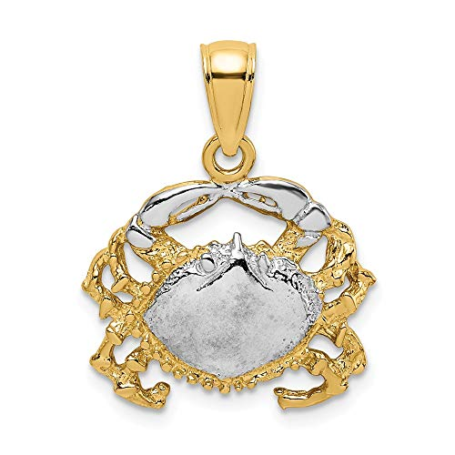 14k Yellow Gold Crab Pendant Charm Necklace Sea Life Lobster Fine Jewelry Gifts For Women For Her