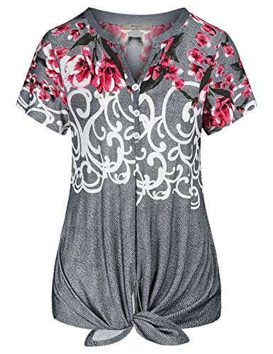 (Miusey Casual Shirts for Women,V Neck Juniors Short Sleeve Tie Knot Henley Top Retro Floral Print Button Down Tunic Draped Front Knot Top Vocation Clothes Gray M)