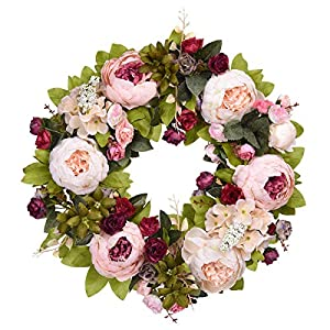 """Sunm boutique Artificial Peony Flower Wreath, 15"""" Silk Peony Flower Door Wreath with Green Leaves, Vintage Blooming Peony Wreath for Front Door Wedding Wall Home Decor 7"""