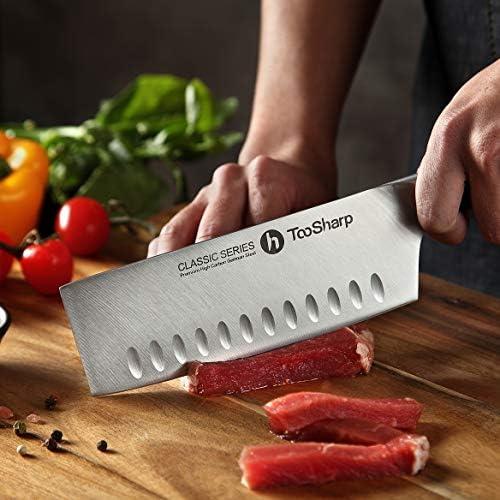 TooSharp Couteau de Chef Nakiri, 7 Pouces Couteaux de Cuisine Professionnels, Prime G-10 Garolite Poignée AllemagneAntiadhésif Haute teneur en Carbone Acier X50CrMoV15-7 (180mm)