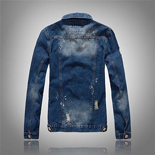 Denim In Uomini Camicia Xxl Abbigliamento Di Lavata Cowboy Giacca Rivetto Jeans Da Slim Sottile Uomini XO68Xx