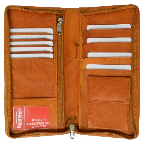 ace7037a4085 Zip Around Leather Travel Wallet with Passport and Boarding pass Holder by  Marshal