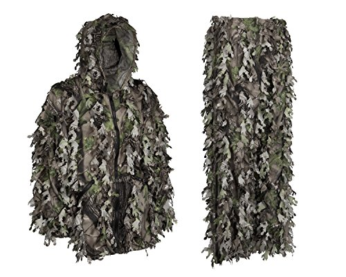 Youth Teens Kids 3D Leafy Ghillie Boys Camouflage Hunting Suit Woodland Green Camo Jacket Hood - Camouflage Woodland Suit