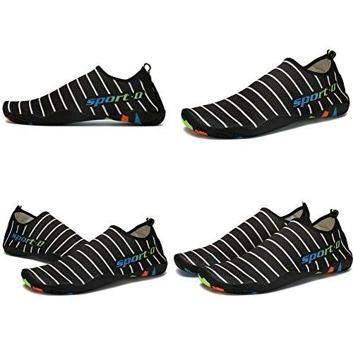 Lxso Männer Frauen Wasser Schuhe Multifunktionale Quick-Dry Aqua Schuhe Leichte Schwimmschuhe Mit Entwässerung Löcher 2-schwarz