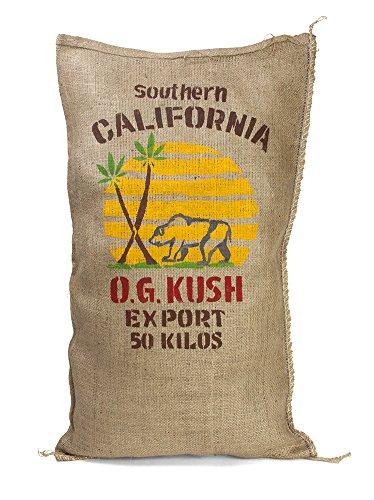 Handmade SoCal Cali Bear Pot Leaf Marijuana Burlap Sack