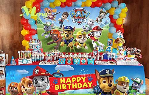 Cartoon Paw Patrol Theme Photography Backdrops Kids Children Happy Birthday Party Decotation Photo Green Grass Background Studio Props Banner Vinyl 5x3ft