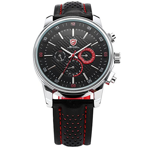 Pacific Angel Shark Men's 6 Hands Date Day 24Hrs Black Red Sport Quartz Wrist Watch + Box SH094