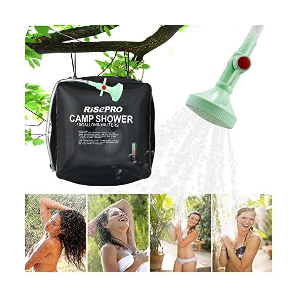 Risepro® XH07 Doccia solare, serbatoio a borsa da 40 litri, da campeggio, a riscaldamento solare con acqua a temperatura… 4 spesavip