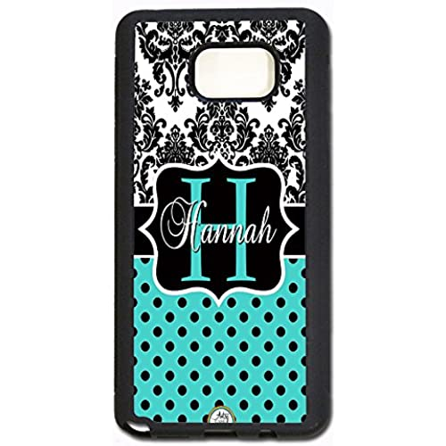 Samsung Galaxy S7 Case, ArtsyCase Damask Teal Polka Dots Monogram Personalized Name Phone Case - Samsung Galaxy S7 (Black) Sales