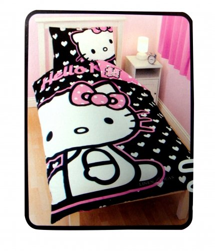 Hello Kitty Hearts Negro Funda de edredón y almohada