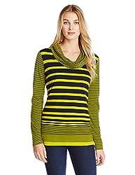 Jones New York Women's Stripe Cowl Neck Pullover Yellow, Chartreuse/Navy, Large
