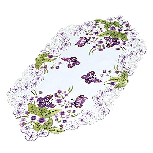 Butterflies Scarf Dresser (Dresser Scarf Runner Table Topper with Purple Flowers & Butterflies)