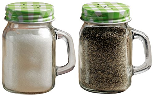 Mason Jar Mug Glass Salt and Pepper Shakers with Glass Handles and Green & Lids, Set of 2, 5 oz., Clear (Green Glass Salt)