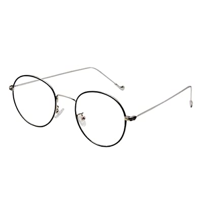 Hzjundasi Mode Lentille Claire Vintage Lunettes Étudiant Unisexe Ronde Métal Cadre Lunettes Optiques