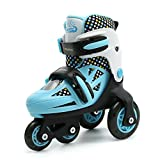 Ellelove Flash Kids Adjustable Roller Skate PVC Wheel For Children Beginners Toddlers Indoor Outdoor (Green-Black, 10-12.5)