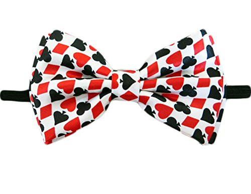 Mens Playing Cards Gambling Casino Bowtie - White - One Size Bow ()