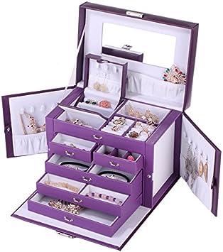 HFJ&YIE&H Mujer Organizador de Joyas Joyero Grande Estuche de Muestra Organizador Aretes Collares Regalo Porta Anillos Cuero de PU Cajas Joyería Gabinete de Bloqueo Espejo Almacenamiento Caso,C: Amazon.es: Deportes y aire libre