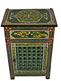 Moroccan Dresser Night Stand Table Arabesque Wood Accent Chest and Cabinet Moorish Hand Painted Handmade Green