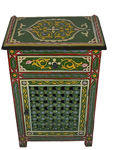 Moroccan Dresser Night Stand Table Arabesque Wood Accent Chest and Cabinet Moorish Hand Painted Handmade (Hand Painted Accent Cabinet)