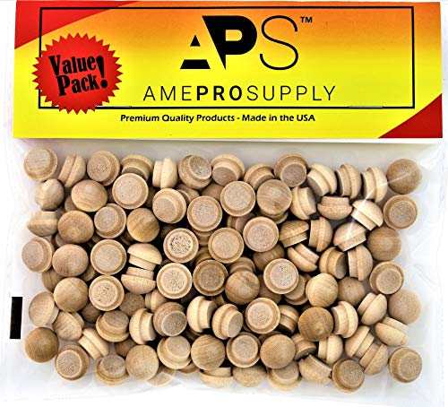 (AmeProSupply Button Top Wood Plugs 3/8 inch | Maple Hardwood Head Plugs | Screw Hole Plugs | Wooden Hole Plugs | Mushroom Wood Caps | Wood Screw Covers | Buttons Wood Plug (120, 3/8 inch))