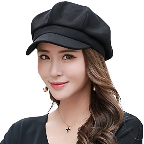 SIGGI Womens Newsboy Cap Wool Winter Hat Ladies Beret Hat Visor Cloche Hats Lined Black