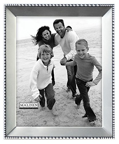 Malden International Designs Marquee Bead Satin Nickel Picture Frame, 8x10, Nickel