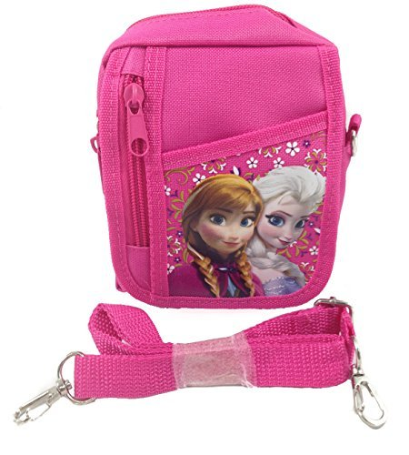 Disney Frozen Queen Elsa Small Camera Bag Case Little Girl Bag Handbag with Frozen Key Chain - Pink