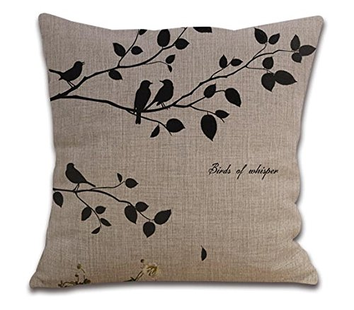 Whisper Linen - Decorative Cotten Linen Pillow Cover Cushion Case Gift 18* 18 Inches Birds Of Whisper