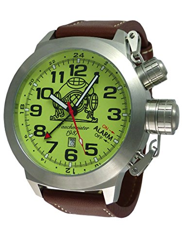 Tauchmeister watch Alarm GMT Date functions Swiss movement T0305 (Gmt Watch Date)