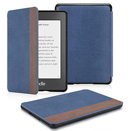 OMOTON Kindle Paperwhite Case (10th Generation-2018), Smart Shell Cover with Auto Sleep Wake Feature for Kindle Paperwhite 10th, Denim Blue (Kindle Cover Sleep)