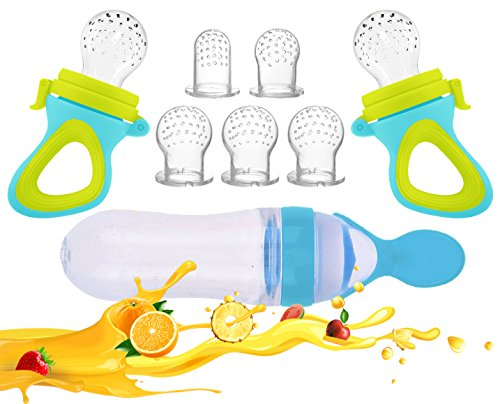 Food Spoon - Baby Food Feeder, Fresh Food 2 Pack Fruit Feeder Pacifier – 5 Different Sized Silicone Teething Pacifiers | 1 Pack Baby Food Dispensing Spoon | Baby Fruit Teether | Baby Feeders Silicone
