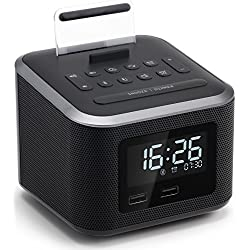 Homtime Alarm Clock Radio,Wireless Bluetooth Speaker,Digital Alarm Clock USB Charger for Bedroom with FM Radio/USB Charging Port/AUX-in and Cell Phone Stand/Snooze/Dimmer/Battery Backup (Black)