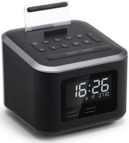Homtime Alarm Clock Radio,Wireless Bluetooth Speaker,Digital Alarm Clock USB Charger for Bedroom with FM Radio/USB Charging Port/AUX-in and Cell Phone Stand/Snooze/Dimmer/Battery Backup (Black) ()