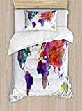 Ambesonne Watercolor Duvet Cover Set Twin Size, Multicolored Hand Drawn World Map Asia Europe Africa America Geography Print, Decorative 2 Piece Bedding Set with 1 Pillow Sham, Multicolor